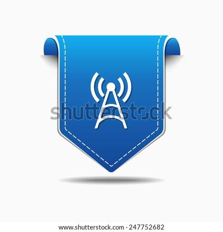Radio Signal blue Vector Icon Design - stock vector