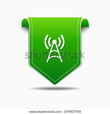 Radio Signal Green Vector Icon Design - stock vector