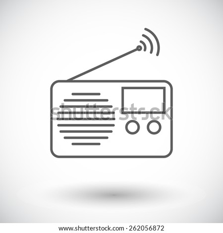 Radio. Single flat icon on white background. Vector illustration. - stock vector