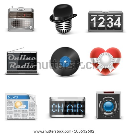 radio station vector icons - stock vector