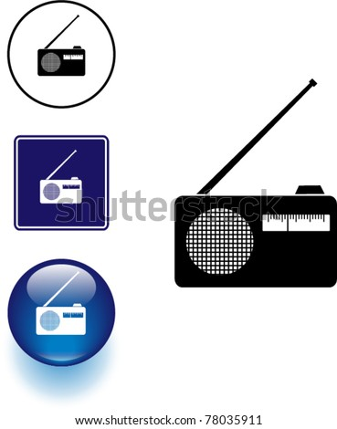 radio symbol sign and button - stock vector
