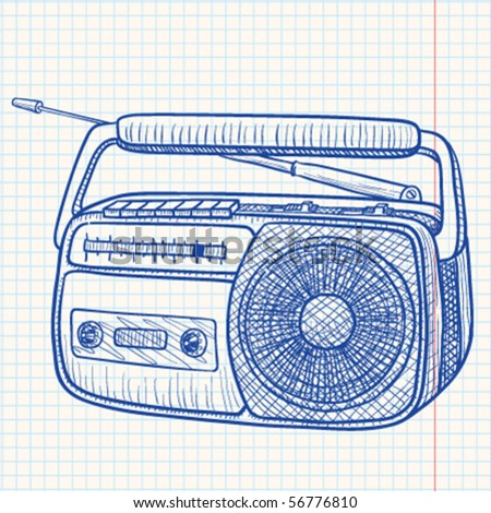 Radio tape recorder - stock vector