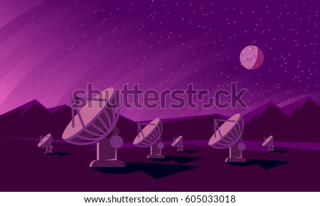 Radio telescopes track the stars at night. Flat style illustration with satellite dishes in the valley with mountains and moon on background.