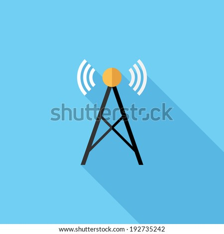 Radio tower icon. Flat design style modern vector illustration. Isolated on stylish color background. Flat long shadow icon. Elements in flat design. - stock vector