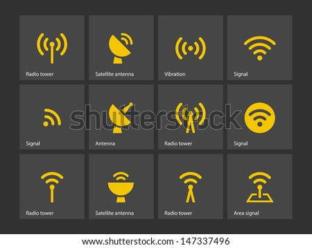 Radio Tower icons on gray background. Wireless technology. Vector illustration. - stock vector