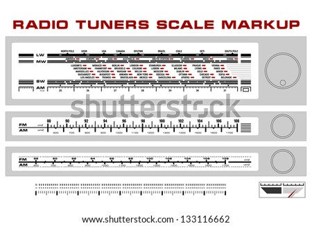 Radio tuner scale dashboard markup vector, 3 styles - stock vector
