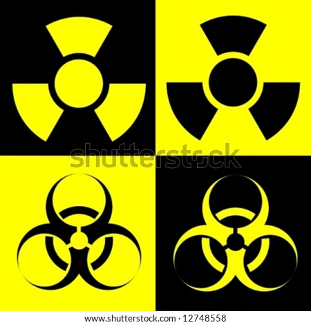 radioactive and biohazard - stock vector