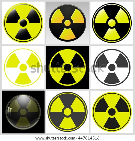 Radioactive contamination set symbol poison danger isolated on white background, vector illustration EPS10 - stock vector
