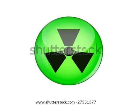 radioactive green glossy button - stock vector