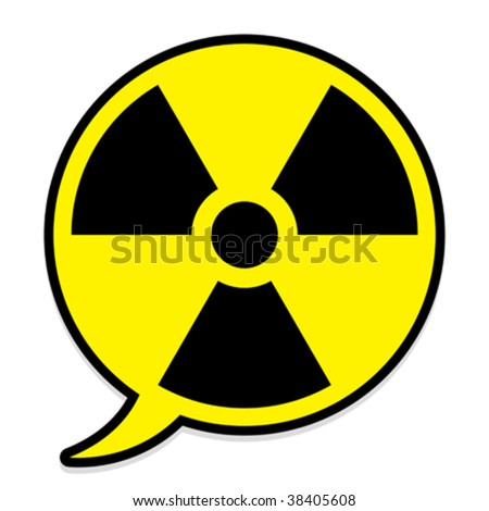Radioactive icon in speech bubble - vector