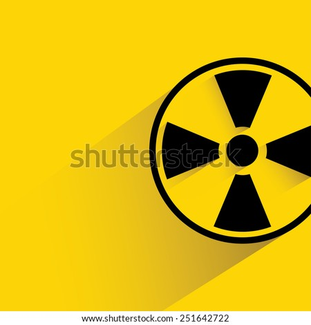 radioactive sign on yellow background, flat and shadow theme - stock vector