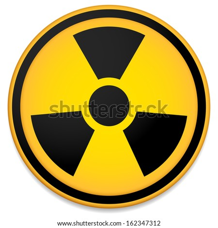 Radioactive sign, symbol. Stylized orange circle. - stock vector