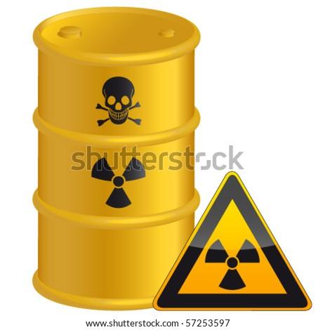 radioactive tank and warning sign - vector illustration - stock vector