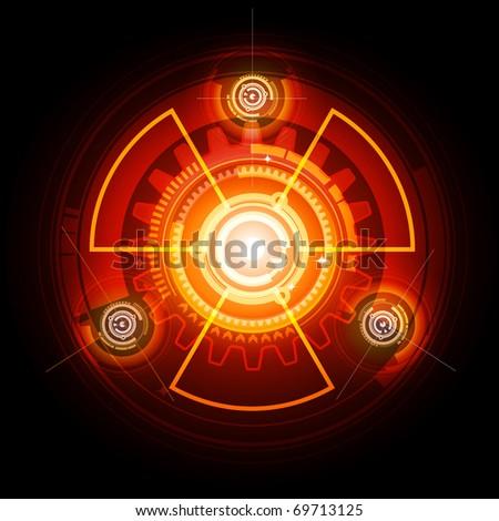 Radioactive techno gears - stock vector