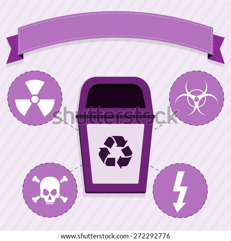 Radioactive waste disposal. Purple trash for the selective collection of radioactive waste. - stock vector