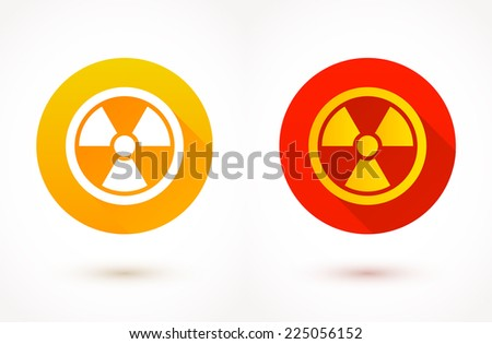 Radioactivity - flat color icons. Vector illustration. - stock vector