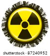 radioactivity icon with city and world - stock vector