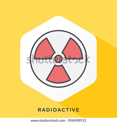 Radioactivity icon with dark grey outline and offset flat colors. Modern style minimalistic vector illustration for warning sign and exposure to radiation. - stock vector