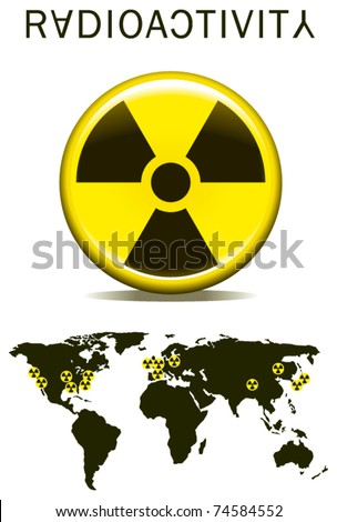 radioactivity sign with earth map - stock vector