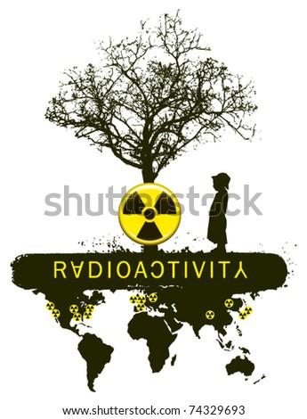 radioactivity tree mutation with child - stock vector