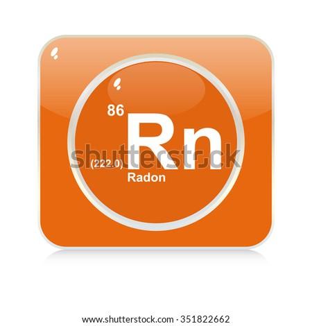 radon chemical element button - stock vector