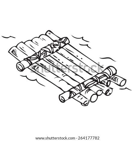 Raft Doodle - stock vector
