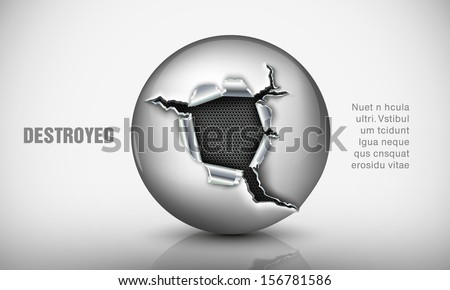 ragged hole in a metal sphere - stock vector