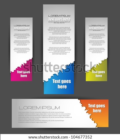 ragged web banners - stock vector