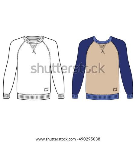 Raglan Long Sleeve Tshirt Outlined Template Stock Vector (Royalty ...