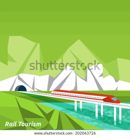 Rail tourism. Icons of traveling, planning a summer vacation, tourism and journey objects and passenger luggage in flat design. Business travel concept - stock vector