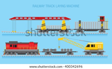Railroad construction. Railroad track laying machine at work. Supporting machinery on the railway line. Vector illustration - stock vector