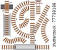 Railroad isolated elements for create your own railway siding. Detailed vector illustration include: train bridge, railroad signal, railway crossing, rail sections, junction... - stock photo