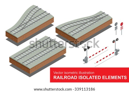 Railroad isolated elements for rail freight transportation. Vector isometric illustration of  railroad signal, rail sections, traffic sign stop. Rail freight transportation. - stock vector