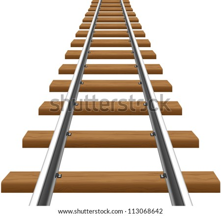 rails with wooden sleepers vector illustration isolated on white background