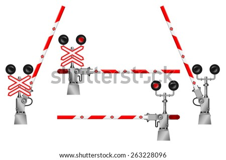 Railway barriers in the open and closed position and a road sign with the railway crossing. - stock vector