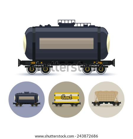 Railway car the tank for transportation of liquid and loose freights. Set of three round colorful icons , icon  railway car the tank, icon railway wagon , icon hopper car for mass transit bulk cargo - stock vector