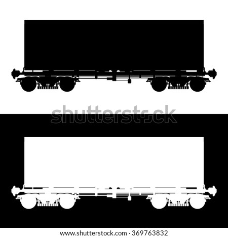 Railway carriage. Vector icon. Isolated on  white and black background.