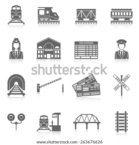 Railway icon set black with station tunnel track semaphore isolated vector illustration - stock vector
