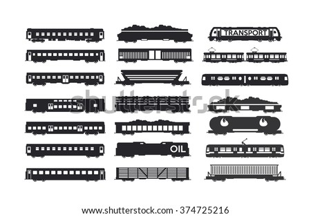 Railway Iron Ore, Coal, Wood, Goods, Oil, passenger, wagons silhouettes.2 - stock vector
