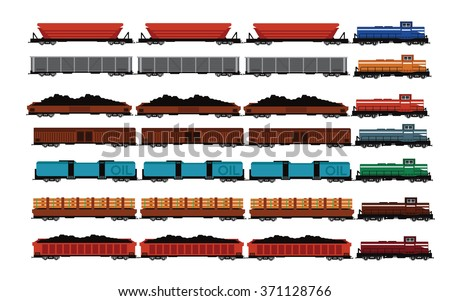 Railway Iron Ore,Coal,Wood,Goods,Oil,wagons.  and Locomotives - stock vector