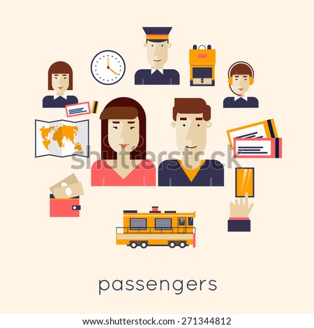 Railway station concept. Man and woman train passengers. Train, watch, backpack, map, rails, controller, driver of the train, dispatcher, money, order tickets. Flat icons vector illustration. - stock vector