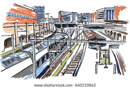 railway station sketch stock vector 558634180 shutterstock