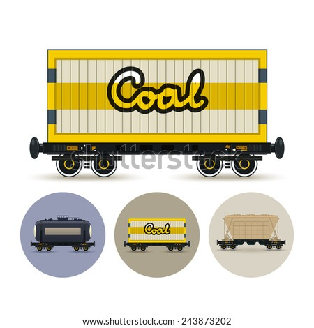 Railway wagon for coal or sand or other granular material. Set of three round colorful icons , icon  railway car the tank, icon railway wagon , icon hopper car for mass transit bulk cargo - stock vector