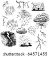 Rain and Thunderstorms Doodles - stock vector