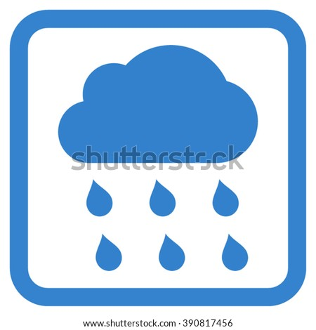 Rain Cloud vector icon. Style is flat symbol in a rounded square frame, cobalt color, white background.