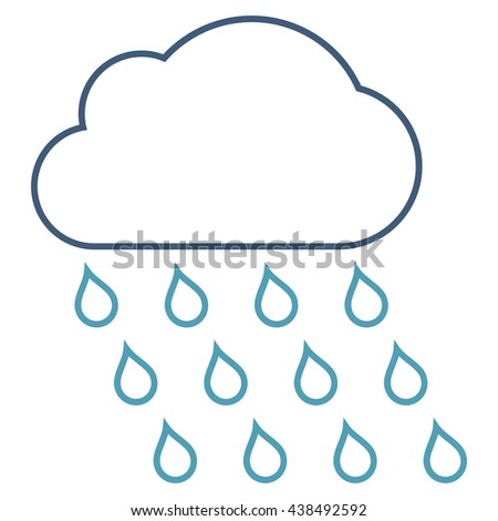 Rain Cloud vector icon. Style is linear bicolor flat icon symbol, cyan and blue colors, white background.