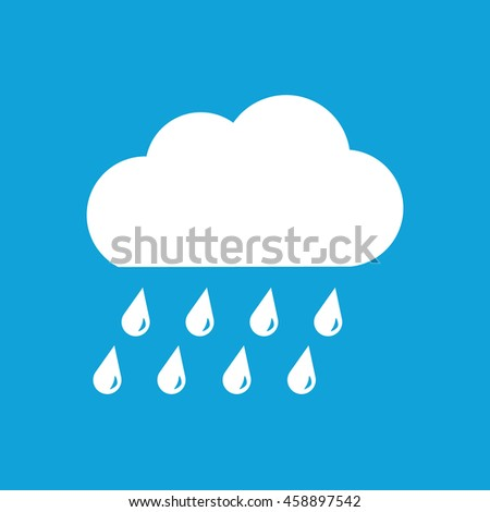 Rain cloud white icon. Vector icon for weather forecast. Blue background - stock vector