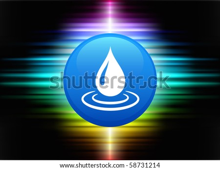 Rain Drop Icon Button on Abstract Spectrum Background Original Illustration