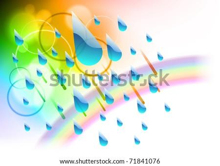 Rain drops with rainbow colors - stock vector