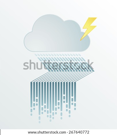 Rain Flood Graphic Vector illustration with dark cloud in wet day, minimal style - stock vector